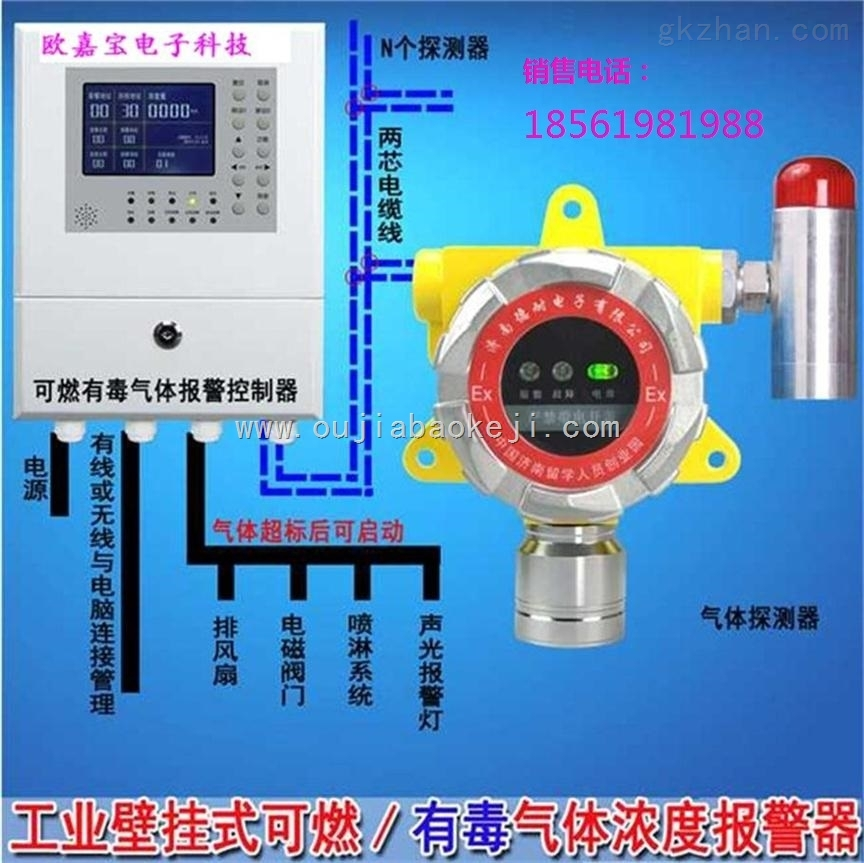 青岛化工厂仓库酒精检测报警器,青岛燃气报警器安装厂家